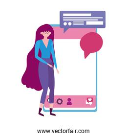 young woman with mobile device speech bubble message