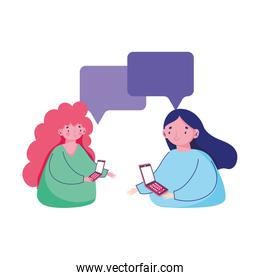 women using mobile texting chatting cartoon