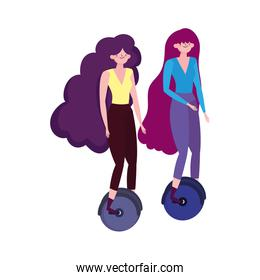 eco friendly transport, young women riding unicycle isolated icon