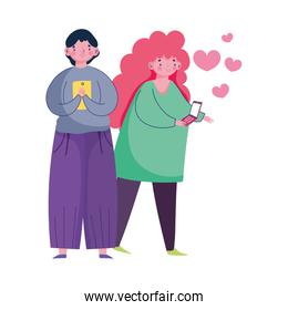 people and smartphone, couple using mobile and woman love hearts cartoon