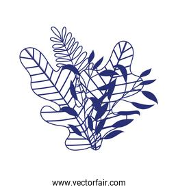 branches leaves foliage nature botanical isolated icon design line style