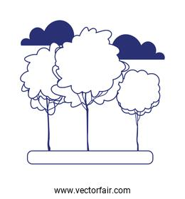 greenery trees forest nature clouds isolated icon design line style
