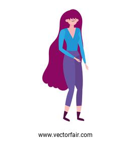 young woman character avatar female isolated icon design