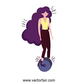 young woman riding unicycle transport isolated icon illustration