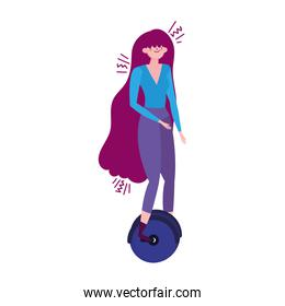 young woman riding unicycle transport isolated icon design