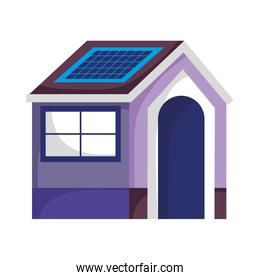 eco friendly house with solar panel sustainable isolated icon design