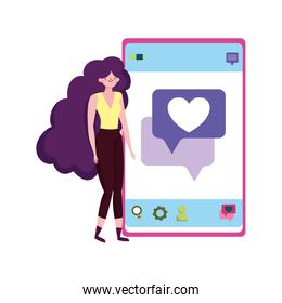 people and smartphone, young woman using smartphone texting love