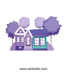 house facade architecture property isolated icon design