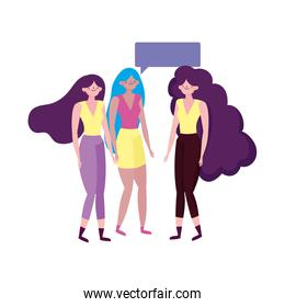 group women young characters talking bubble isolated design