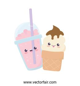 cute ice cream and milkshake kawaii cartoon character
