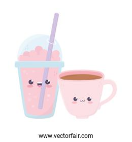 cute coffee cup and milkshake kawaii cartoon character