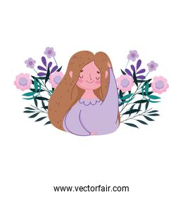 happy mothers day, woman flowers leaves decoration nature isolted design
