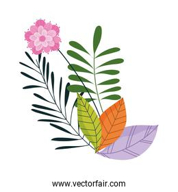 flowers leaves foliage nature decoration isolated icon