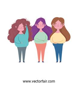 group women young female character isolated design