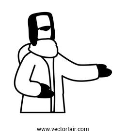 man with winter clothes on white background