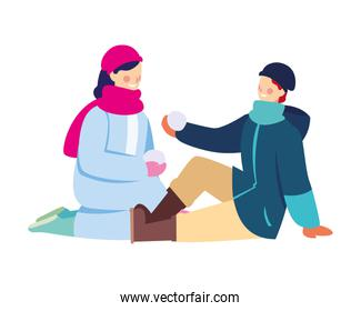 couple of people with winter clothes on white background