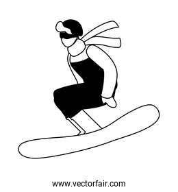 man practicing sport extreme winter on white background