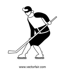 man playing ice hockey in white background