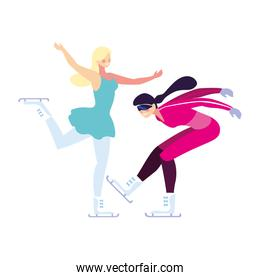 women practicing skating winter on white background