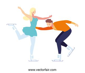 couple of people practicing figure skating on white background