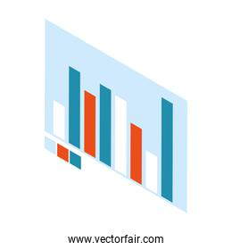 graph bar chart on white background