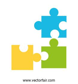 colorful puzzle pieces on white background