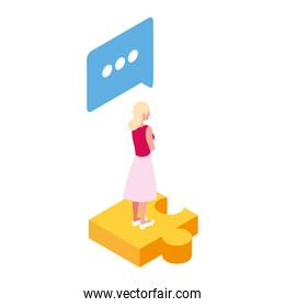 businesswoman with puzzle piece on white background