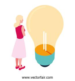 businesswoman with light bulb on white background