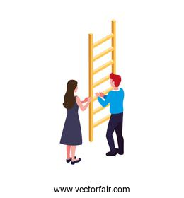 couple of people with stair on white background