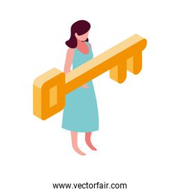 businesswoman with golden key on white background