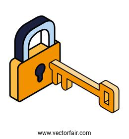 security padlock with key on white background