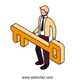 businessman with golden key on white background
