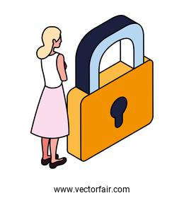 businesswoman with padlock on white background
