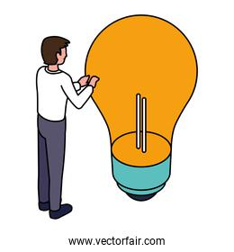 businessman with light bulb on white background