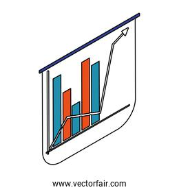 graph bar chart with arrow on white background
