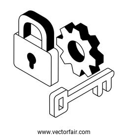 security padlock with gearwheel on white background