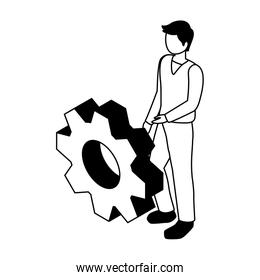 man with gearwheel on white background