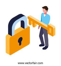 man with security padlock and key on white background