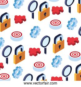 pattern of icons business idea on white background