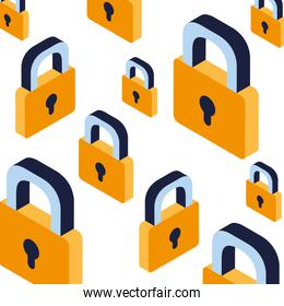 pattern of security padlock on white background