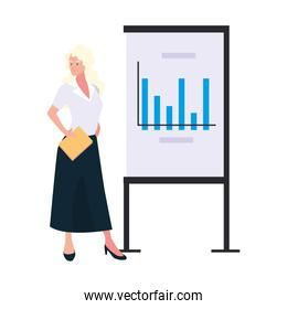 businesswoman standing with graphs on white background