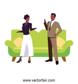 couple in the living room isolated icon