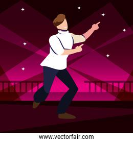 young man dancing in nightclub