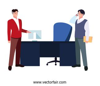 businessmen in the work office on white background