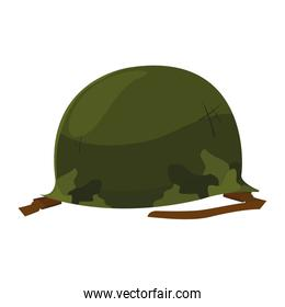 military helmet with camouflage patterns on white background