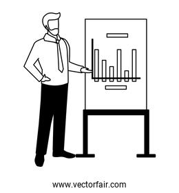 businessman standing with graphs on white background