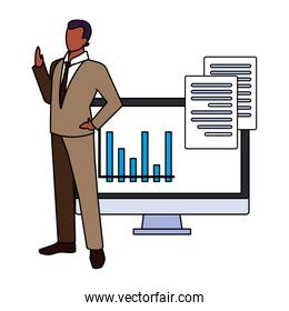 businessman with computer screen in white background