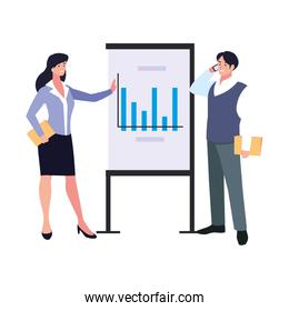 couple of people of business with graphs on white background