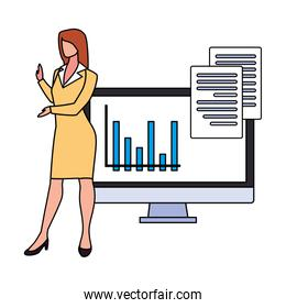 businesswoman with computer screen in white background