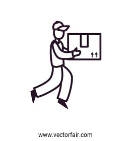 delivery man holding a package box icon, line style